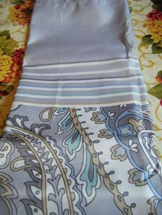 Jakson Lovely Paisley Shower Curtain W Border Grey Blue Ivory New