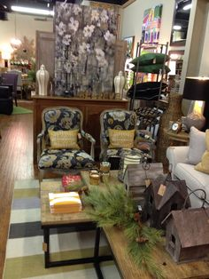 Lots of new vignettes at our holiday open house.