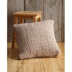 Herringbone Stitch Pillow in Lion Brand Wool-Ease Thick & Quick - L0133AD | Knitting Patterns | LoveKnitting