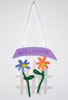 "Door hanger - could make sign say anything you want like ""happy mothers day"""