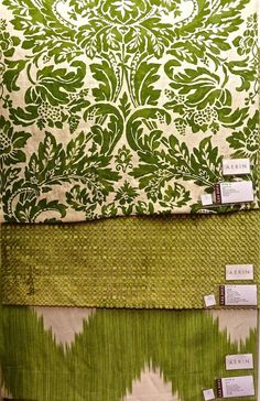Aerin Lauder for Lee Jofa:  Montrose in linen, the Shoridge, and the large repeating Mirasol, also in linen.