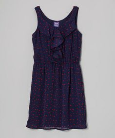 Take a look at this Navy & Red Ruffle Dress by BeBop on #zulily today!