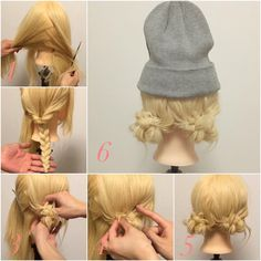 Easy identical pigtail buns for medium hair