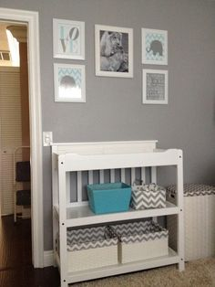 Project Nursery - Gray and White Boy Nursery Changer. No elephants, though. & figure something else out for the lion pic.