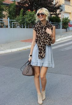 32 Street Style Look With Leopard Print Details #leopard | grey dress, leo scarf, LV bag, nude booties... Yes, please!