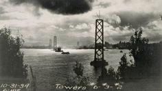 The San Francisco Bay Bridge under construction, Halloween 1934
