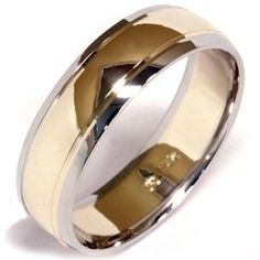 Mens 14K Gold Two Tone Plain Polished Wedding Band Ring Pompeii3 Inc.. $429.00