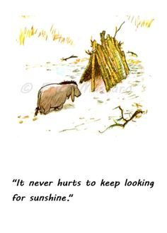 """It never hurts to keep looking for sunshine."" 