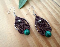 Malachite macrame earrings, macrame jewelry, boho earrings, macrame stone, elven jewelry, gemstone earrings, micro macrame, hippie earrings