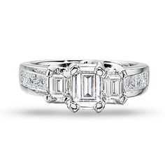 1 CT. T.W. Emerald-Cut Certified Diamond Three Stone Engagement Ring in 14K White Gold - Zales. Gorg!!!
