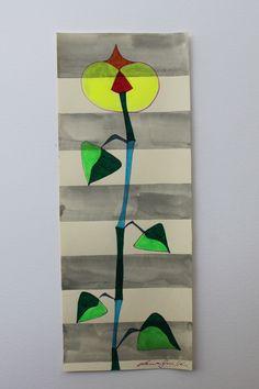 FLOR FLUORESCENTE. TÉCNICA MIXTA SOBRE PAPEL. DISPONIBLE. FLOWER, ART, PAINTING