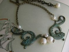 Siren necklace from 2007 Handmade Jewelry, Beaded Necklace, Deep, Chain, My Style, Etsy, Pearl Necklace, Handmade Jewellery