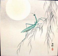 "Koson 1877 - 1945, ""Praying Mantis on Willow Branch, a Full Moon Above"""