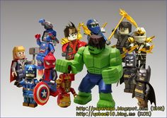 YOBEE'S LEGO MINI-FIGURE PAPER CRAFT: Lego Paper Craft Download Line-Up (9 Mar. 2015) Lego Batman, Spiderman, Lego Figures, Paper Models, 8th Birthday, How To Make Paper, Lineup, Iron Man, Images