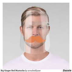 Shop Big Ginger Red Mustache Face Shield created by annaleeblysse. Handlebar Mustache, Moustache, Redhead Costume, Redhead Men, Clear Face, Rubbing Alcohol, White Ink, Mild Soap, Online Gifts