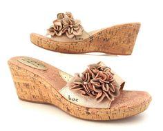 f9912fb73835  BOC Born Concept Metallic  Leather Cork  Wedge Heels Slides  Sandals  Flowers 8