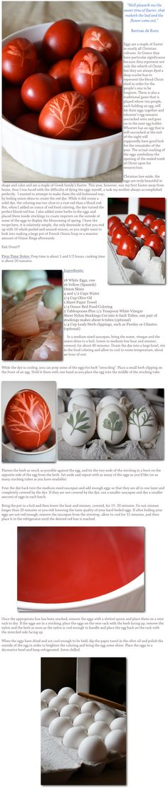 Onion dyed Easter eggs in the Greek method