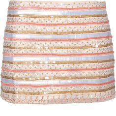Parker Tribal Shell Sequined Silk Skirt ($410) ❤ liked on Polyvore