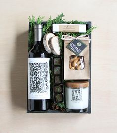 DIY Personalized Gift Basket For Anyone, Girlfriend, Kids, Mom Etc - Owe Crafts Gift Crates, Wine Gift Boxes, Jar Gifts, Wine Gifts, Christmas Gift Baskets, Christmas Gift Box, Kids Christmas, Xmas, Gourmet Gifts