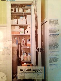 Great storage ideas for an under-used linen closet. Love having a place to store the vacuum cleaner.