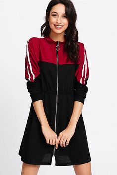 SHEIN offers Stripe Contrast Sleeve Zip Front Dress & more to fit your fashionable needs. Spring Look, Zip Front Dress, Donia, Natural Clothing, Dress P, Dress Long, Dress Clothes, Latest Dress, Striped Dress