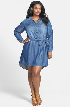 City Chic - DENIM STUD SHIRT - Women's plus size fashion