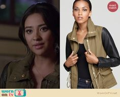 Emily's khaki green jacket with black leather sleeves on Pretty Little Liars.  Outfit details: http://wornontv.net/13295/