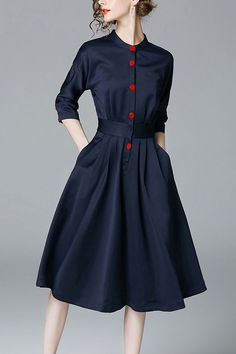 $28.99 Dark Navy Buttons Flared Dressproducts_id:(1000012969 or 1000012408 or 1000012624 or 1000012429)