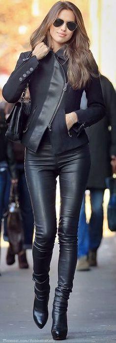 Black Plain Pattern Fashion PU Leather Legging