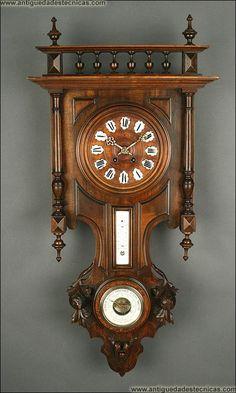 Reloj de Pared con Termómetro y Barómetro. Francia, S. XIX. En Madera Maciza