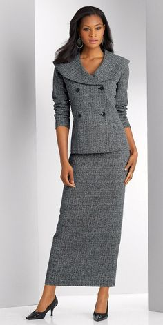 Love this suit with the long pencil skirt!This would be great for ...