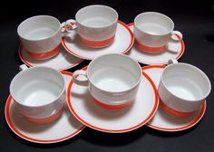 Vtg Arzberg 711 Retro Mid-Century White/Orange 12 Piece Cup & Saucer Set Germany #Arzberg