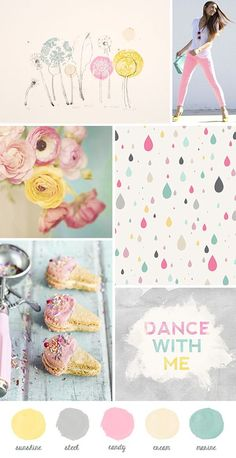 pastel moodboard: floral, raindrop pattern fabric, ice cream & dance with me! color palette