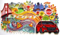"Quilled collage by Kathleen Usova, created for ""Dodge Dart - Inspired By You"" contest."