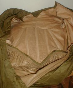 """Fetching 1840's Olive Green Silk Dress 