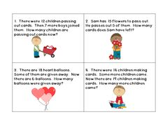 """$ This product includes a set of 32 Valentine's Day themed word problems for 1st graders. It also includes a printable for students to write their answers on, a """"show your work"""" page, as well as an answer key. I use these as a math center, but you could use them in many other ways as well. You could hide them around the room and have your students see how many they can find and answer correctly individually or in pairs."""