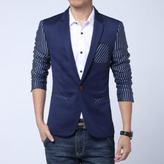 Wholesale-HOT SALE 2015 New Spring Fashion Brand Men Blazer Men Stripe Casual Suit Jacket Trend Men Slim Fit Suits Korean Men Suit Men