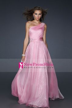 2012 a line One Shoulder Chiffon Floor Length embellished with Beading and Sequins
