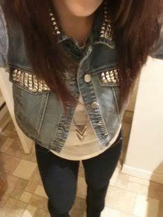 Studded jean vest