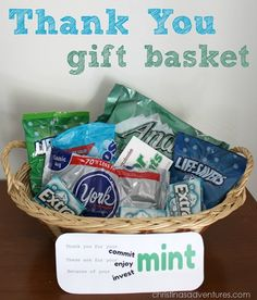 Nice thank you gifts mint themed gift basket for teacher male teachers Thank You Gift Baskets, Teacher Gift Baskets, Themed Gift Baskets, Thank You Gifts, Simple Gifts, Cool Gifts, Unique Gifts, Best Gifts, Teacher Appreciation Gifts