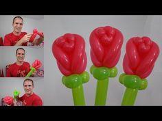 como hacer una rosa con globos paso a paso - globoflexia facil - rosas con globos largos - YouTube