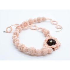 Pink necklace, crochet jewelry light pink, crochet necklace with... ($16) ❤ liked on Polyvore featuring jewelry, necklaces, crochet necklace, pink gemstone necklace, gemstone necklaces, gemstone jewelry and crochet flower necklace