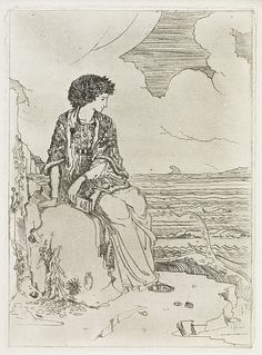 Woman in a Grecian Dress, Seated on Rock by Foreshore Cecile Walton, Etching 1908