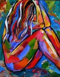 Figurative art abstract nude painting female paintings by Debra Hurd, painting by artist Debra Hurd