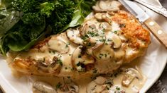 RecipeTin Eats x Good Food: Chicken with creamy mushroom sauce Creamy Mushroom Sauce, Creamy Mushrooms, Stuffed Mushrooms, Stuffed Peppers, Creamy Sauce, Seared Pork Chops, Recipetin Eats, Recipe Tin, Steamed Vegetables