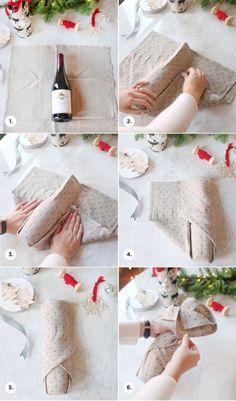 wein verpacken, leicht und schnell, geschenkidee, mit stoff einpacken