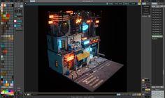 Arte Cyberpunk, Cyberpunk City, Futuristic City, Futuristic Design, Isometric Map, Isometric Design, Pix Art, Polygon Art, 3d Artwork