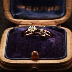Gypsy Spark Ring (14k Rose Gold w/ black diamond or 14k yellow gold with white diamond) from $360.