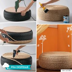 I am obsessed with doing this fantastically frugal DIY repurposed tire to an ottoman! Tire Table, Tire Ottoman, Ottoman Stool, Stool Chair, Tire Seats, Tire Chairs, Diy Tisch, Diy Casa, Tyres Recycle
