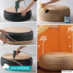 Dica do namorado de como transformar um pneu em uma mesinha baixa super charmosa ou até mesmo num puff.    Tem que fazer com cuidado, carinho e                                                                                                                                                                                 Mais